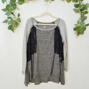 Free People grey with black lace sweater